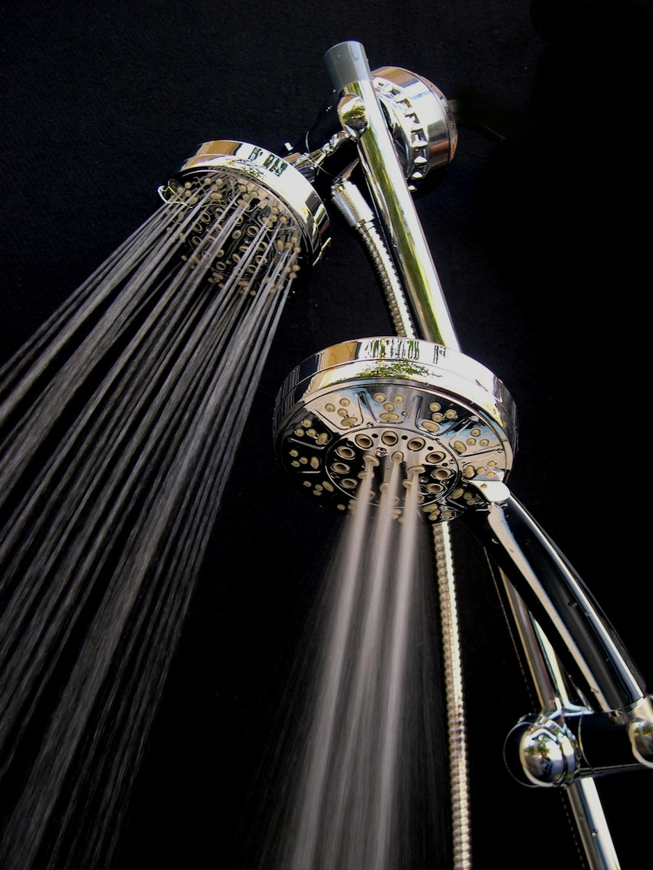 Dual Showerhead Filter with Stainless Steel Slide Bar