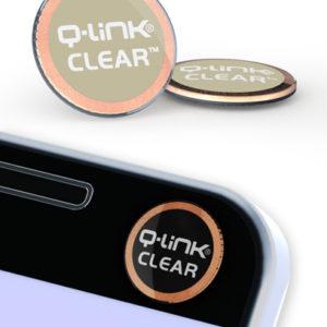 Q-Link Clear Geo Taupe Pocket Wellness Button SRT-3