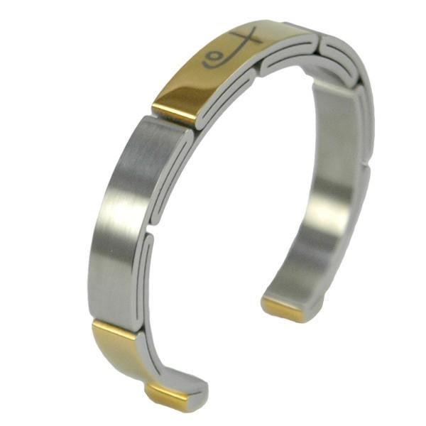 Shuzi Two Tone Sports EMF Cuff Bracelet - Mens