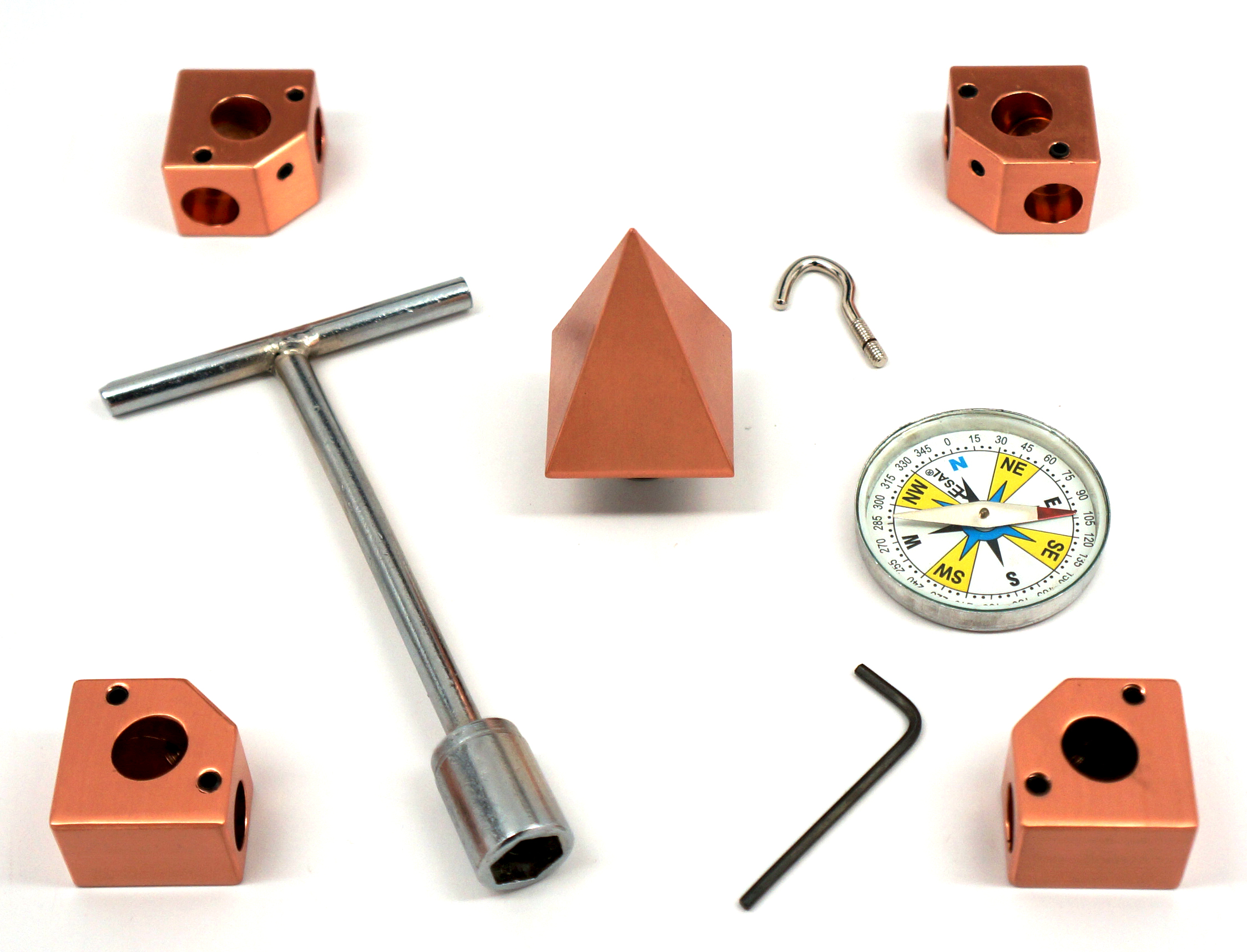 Solid Pure Copper Nubian Pyramid Connector Corner Kit To Fit 1/2' Pipe